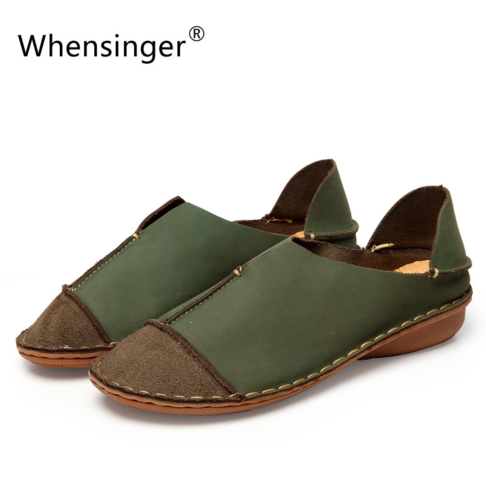 Whensinger - 2017 Woman Shoes Female Genuine Leather Loafers Stitched Slip-On Solid Round Toe Characteristic Fashion 988<br>