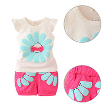 New Fashion Toddler Clothes Set Baby Girls Summer Bow Sunflower T Shirt+Pant Set kids Girls Casual Sport Cotton Vest +Pant Suit
