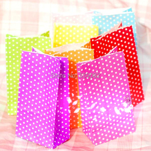 New Stand up Colorful Polka Dots Paper Bags 18x9x6cm Favor Bag  without reticule Gift Packing Bags food bags for child 50pcs/lot