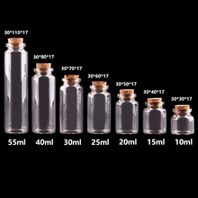 24pcs 10ml 15ml 20ml 25ml 30ml Cute Clear Glass Bottles with Cork Stopper Empty Spice Bottles Jars DIY Crafts Vials(China)