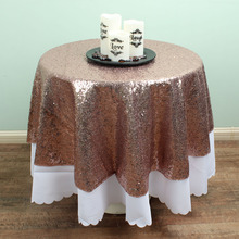 48 inch Gold / Silver / Champagne Round Sequin TableCloths Overlay Glitter Table covers Sparkly bling Wedding party decoration