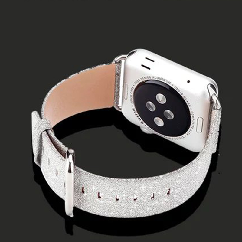 Luxury Glittery Bling Christmas PU Leather Watch Band with Connector Adapter strap for Apple Watch Series 1 Series 2 38mm 42mm<br><br>Aliexpress