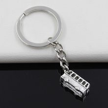Fashion diameter 30mm Key Ring Metal Key Chain Keychain Jewelry Antique Silver Plated bus car 29*9*9mm Pendant