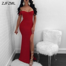 Buy ZJFZML High Side Split Sexy Mermaid Dress Women Red Slash Neck Short Sleeve Maxi Dress Blue Back Zipper Cold Shoulder Long Robe for $16.64 in AliExpress store