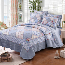 CHAUSUB Korean Patchwork Quilt Set 4PCS Floral Cotton Quilts Bedspread Bed Cover Quilted Bedding Set Duvet Cover Shams Coverlets
