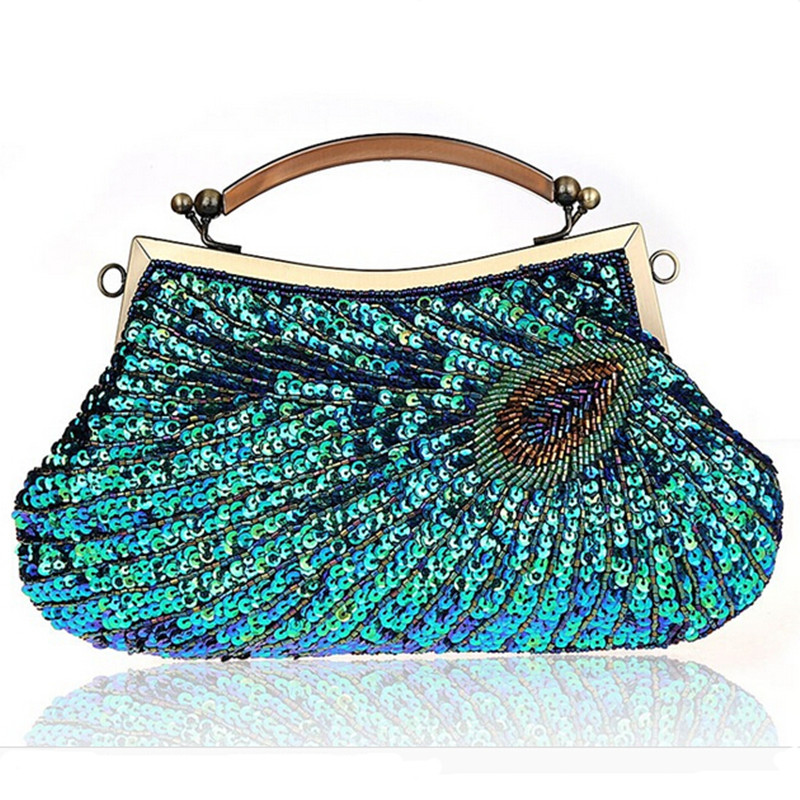 Handmade beaded sparkling bling satin and sequins lady handbag vintage women shoulder bag evening party clutch purse with chain<br>