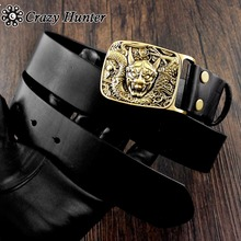Cool! Brass Buddhist Evil Oni Noh Hannya Buckle Men's Real Leather Belt(China)