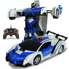 Electric RC Car Sports Car Shock Resistant Transformation Robot Toy Remote Control Deformation Car RC Robots Children Toys(China)