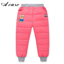 Winter 2017 New Arrival High Waist Boys and Girls Pants Thermal Kids Trousers Warm Thicken Down Pant Windproof Waterproof Pants(China)