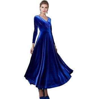 Autumn Winter Women Lady Sexy V Neck Velvet Long Sleeve Dress Party Prom Maxi Dress High Waist Female Vestidos Plus Size YF216