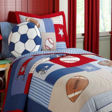 Free shipping rugby football/soccer kids bedding set baseball boys bedding set handmade applique patchwork quilt bedspread set