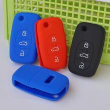 New skin silicone rubber car key fob cover case set for Audi A2 A3 A4 A6 A8 TT 3 button OLD flip folding remote repair protect