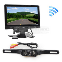 7 inch Touch Button Ultra-thin Car Monitor + IR Rear View Camera Wireless Parking Assistance System Kit