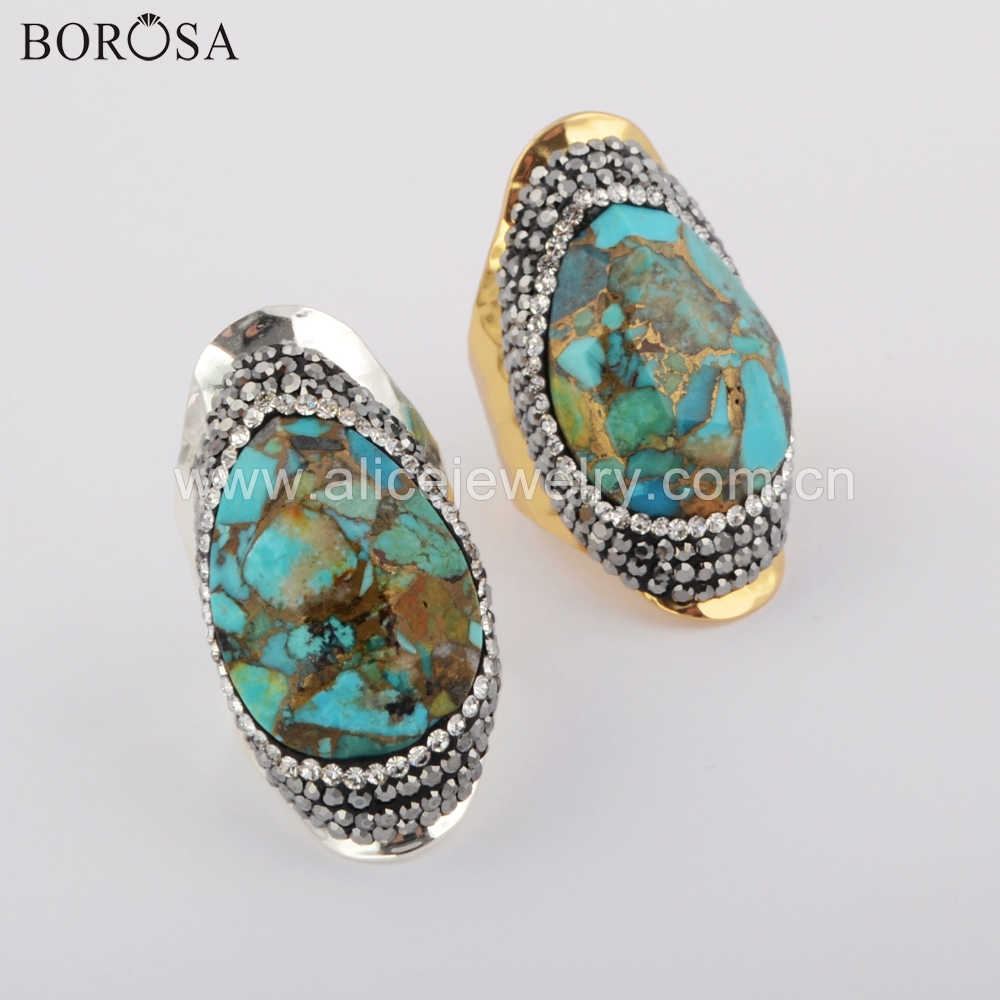BOROSA 5PCS High Quality Gold/Silver Color Crystal Rhinestone Pave Teardrop Copper Natural Turquoises Ring Jewelry JAB958