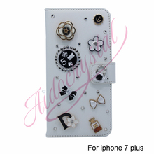 Aidocrystal Cheap PU Leather Wallet Case For iPhone 7 plus Flip Cover With bling crystal Cell Phone Accessory Fundas