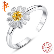 BELAWANG Fashion Silver Rings Authentic 925 Sterling Silver & Enamel Daisy Flower Open Finger Rings For Women Wedding Jewelry(China)