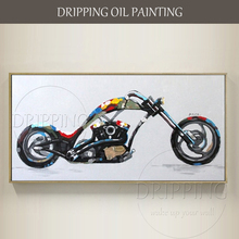 Artist Hand-painted High Quality Motorbike Oil Painting on Canvas Handmade Modern Halley Motorbike Oil Painting for Sofa Wall(China)