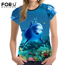 FORUDESIGNS Summer Women T-shirt Sea World Dolphin Printed Tee Shirts for Women T Shirts Female Short Sleeve Ladies Tees 2017