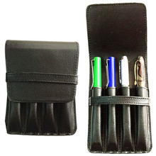 HIGH QUALITY LUXURY BLACK ROLLER AND FOUNTAIN PENS CASE HOLDER FOR 4 PEN