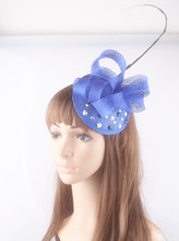 17 colors millinery sinamay hats nice feather flower fascinators hats for occasion headwear Rhinestone deco cocktail party hats(China)