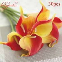 30PCS Decorative Flowers Calla Lily PU Real Touch Artificial Flower Christmas Home Decor Table Flowers Wedding Bouquet Flower