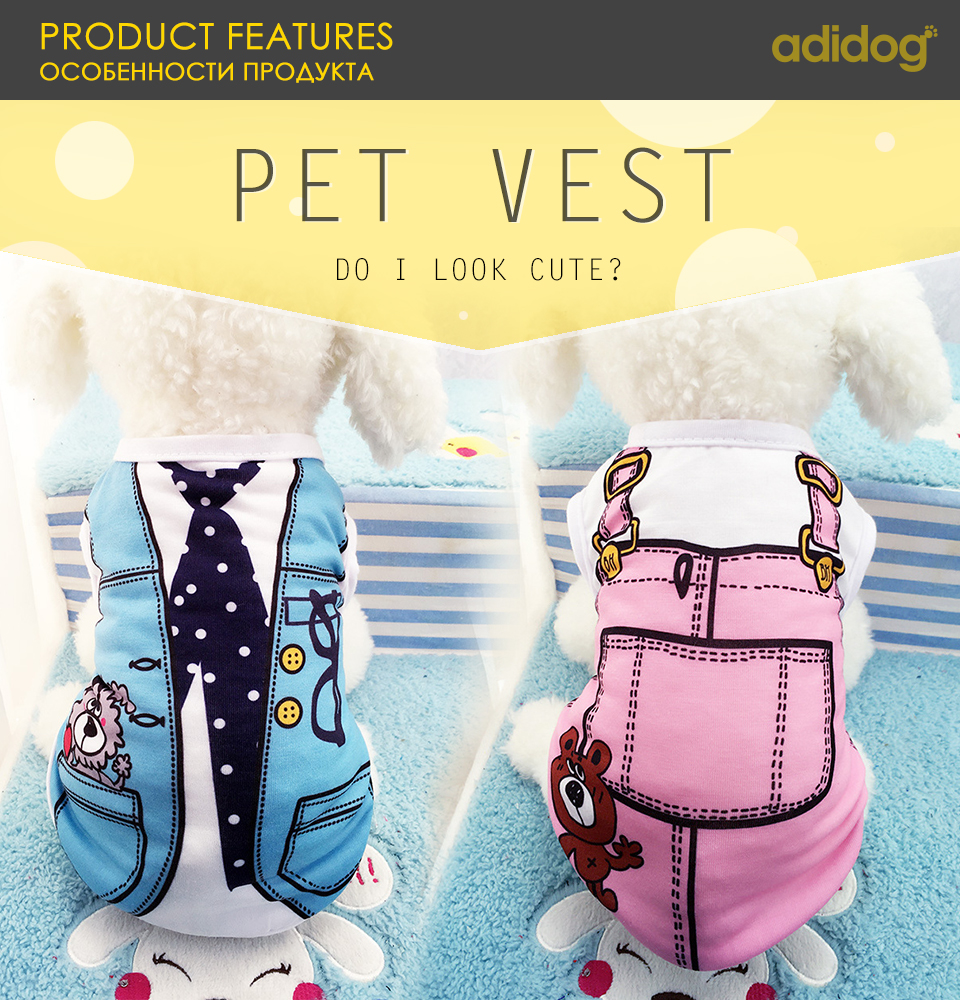 adidog PET Cheap Dog Clothes With Free Shipping Mesh Cute Dog Vest 8 Cartoon Styles Spring Summer Dog Clothes For Small Dogs 601