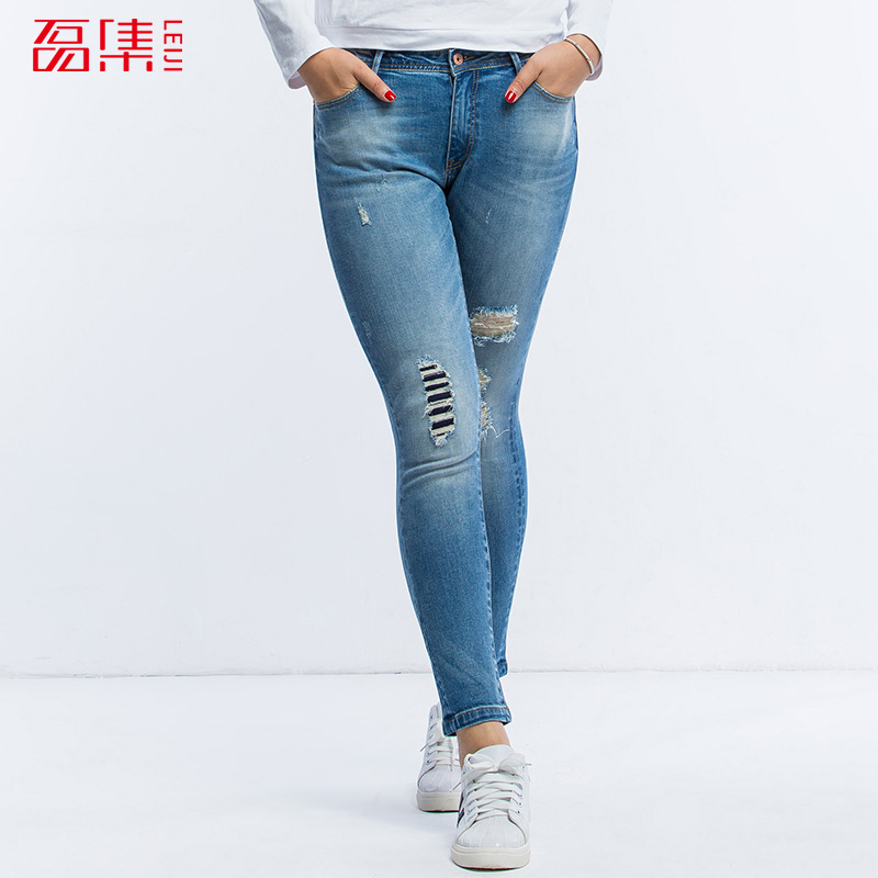 LEIJIJEANS Trouser For Women Hole Jeans Casual Style Low Elsatic  Jeans With Mid Waist Ripped Plus size Jeans 40-120 Available Одежда и ак�е��уары<br><br><br>Aliexpress