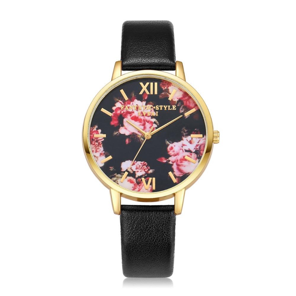 Fashion Women Leather Gold Dress Watch Flowers Bracelet Quartz Watch Ladies Dress Casual Sport Electronic Watch Clock 2017<br><br>Aliexpress