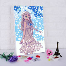 Japanese cartoon posters Anohana DIY digital painting by numbers art draw practice diy oil painting on canvas framework(China)