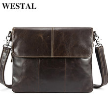ea85bc8005c WESTEL Messenger Bag Men Genuine Leather Men s shoulder bags male Casual  Zipper Crossbody Bags clutch bag