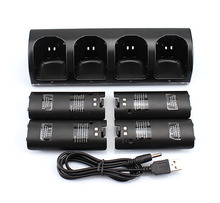 4 x Rechargeable Battery and Quad 4 Charger Dock Station Kit for Wii Remote Controller Black