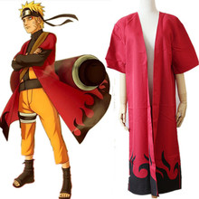 Anime Naruto cosplay unisex Cloak Role Uzumaki Naruto Sennin Mode red Cloak cosplay costumes Various parties cosplay costume(China)