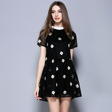 Women's summer embroidery dress 2016 black loose gauze dress Elegant Sexy Bead embroidery party dresses business OL clothes 2803