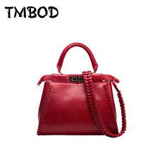 New 2017 Classic Celebrity Women Knitting Design Peekaboo Cowhide Tote Split Leather Handbags Messenger Bags For Female an539