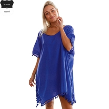Royal Blue pareo playa Beach Cover up Beach Cardigan 2017 Swimwear Cover Ups Women Mini Dress Smock Bathing Suit saida de praia(China)