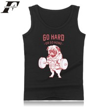 LUCKYFRIDAYF Cartoon Dog Tank Top Mens Hip Hopgo Hard Black O-Neck Funny Tank Top Bodybuilding Fashion Casual Summer Vest 4XL
