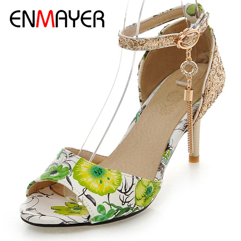 ENMAYER Summer Women Casual Fashion Print Sandals Pumps Shoes Peep Toe Buckle Strap Thin Heels Large Size 34-47 Black Blue Red<br>