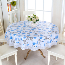 Waterproof Wipe Clean Round PVC Vinyl Tablecloth Dining Kitchen Table Cover Protector OILCLOTH VINYL FABRIC CR-975