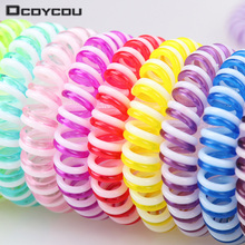 10pcs/lot Double Strip Fashion Cute Candy Color Hair Jewelry Headbands Telephone Line Hair Rope for Women Hair Band(China)