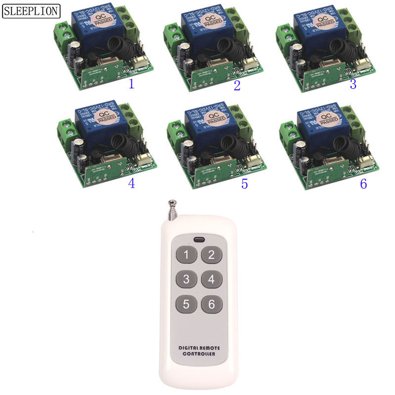12V 10A 1CH Wireless RF Remote Control Switch Transmitter Receiver Module For Accessdoor Control System 315MHz 433MHz (2)