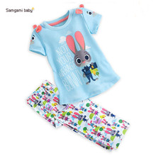Girl cute cartoon rabbit rainbow balloons printed short-sleeved T + long pants summer cool baby clothes kids girls clothing Set