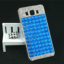 Bling Pure Blue Square Phone Cover for Samsung Galaxy j7 2016 Crystal Phone PC Hard Celular Funda Shell for Samsung j7 2016 Capa