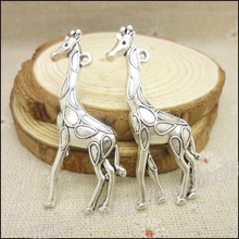 2pcs 54*22mm New Exquisite Big Animals Design Antique Silver Charms Giraffe Pendant Bracelets Necklace DIY Metal Jewelry Making
