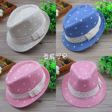 2014 New Baby Boys 100% cotton lace Hats Kids Fedora Hat Children Evening Party Jazz Caps,fit 2-5 Years Old,10 pcs/lot(China)