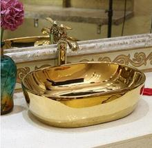 Ceramic pots wash basin gold-plated art basin small units bathroom basin(China)