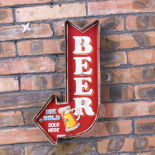 Retro Ice cold Beer Drink Arrow Signboard Neon Signs Wall Decor Painting Pub Bar Club Wrought Iron Illuminated LED Metal Signs