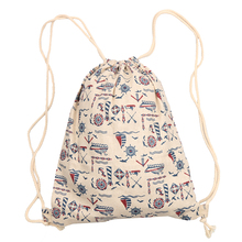 fashion harajuku drawstring bag sailing boat Printing Woman Girls'Canvas Backpack Small Accersories Collection Tool(China)