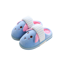 Winter cute dog Flannel kids slippers Warm Plush baby home slippers boys girls toddler shoes child Flip Flops(China)