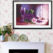 Grape and Fruit Rose Wine Glass Canvas Cross Stitch Kits  Printed  Embroidery DIY Handmade Needle Wall Set Home Decor Paintings
