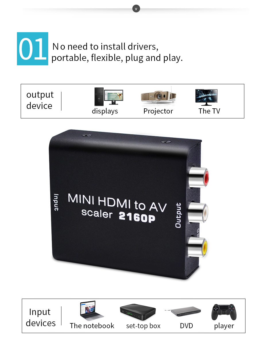 UNSTINCER HDMI to AV Converter 4K HDMI  to RCA Composite Video Audio Signals Support 2016P HDMI2AV Converter for TV/Monitor
